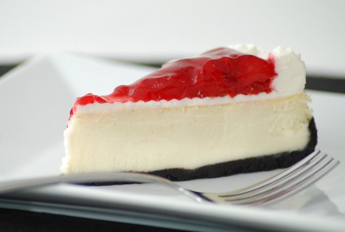 White Chocolate Cheesecake With Cherry Topping Recipe — Dishmaps